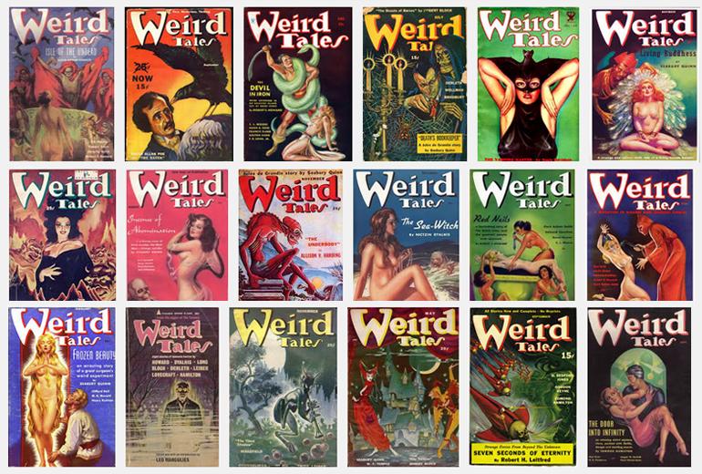 """Lovecraft, Robert E. Howard, Clarke Ashton Smith ve """"gotik tayfanın"""" yazdığı Weird Tales dergisinin kapakları."""