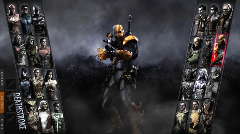 Injustice: Gods Among Us'ın karakter seçim ekranından bir görüntü