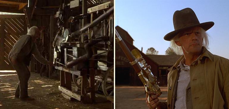 """""""Doc"""" Emmett Brown'ın dürbünlü tüfeği ve buz makinesi. Retro-fütürist olmak için bizzat geçmişe gitmemize gerek yok!"""