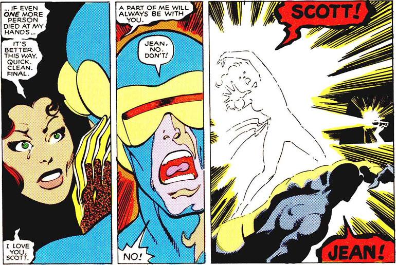 Jean Grey, güçlerini kontrol edemeyip büyük felaketlere yol açtıktan sonra intihar eder ve bu onun ilk (!) ölümü olur. Uncanny X-Men #137 (1980)