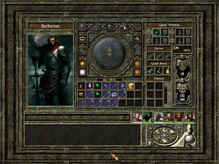 Icewinid Dale EE karakter inventory ekranı.