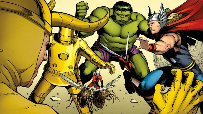 Loki'yle savaşan orijinal kadro (son dönemde çizilmiş).