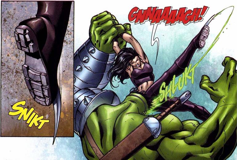 Wolverine'in klonu X-23, Hulk'ın gözlerini çıkarmayı başarmıştı. Ancak kısa süre içinde Hulk iyileşti.