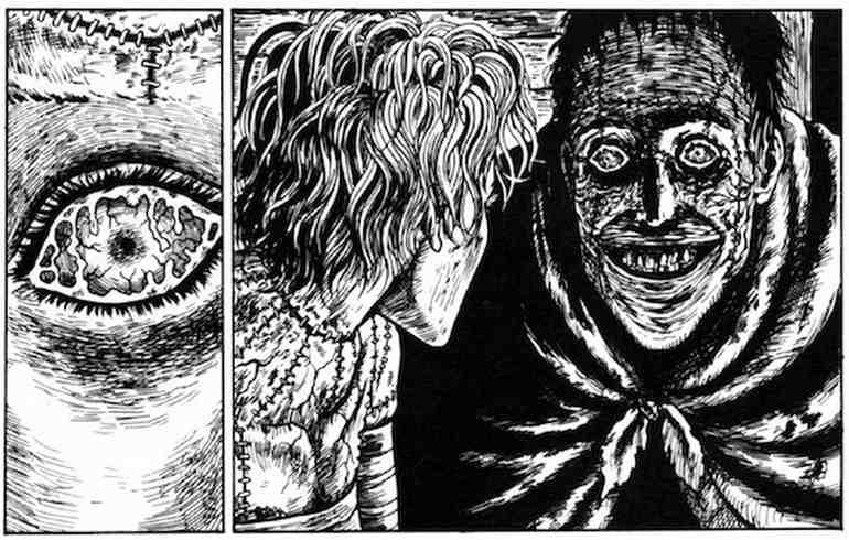 Junji Ito'nun Frankenstein Canavarı yorumu.