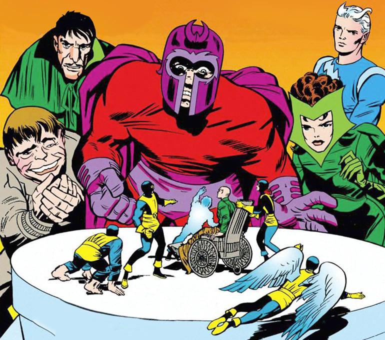 Scarlet Witch'in kostümünün yanlış boyandığı X-Men #4. Toad, Mastermind, Magneto, Scarlet Witch ve Quicksilver.