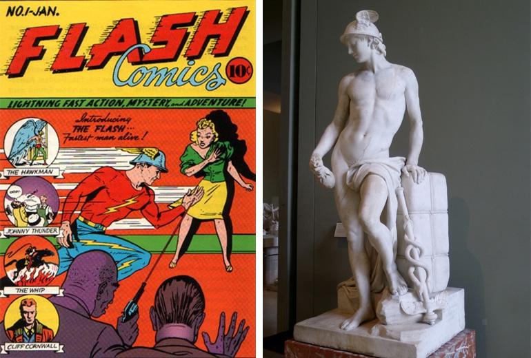 Flash'ın boy gösterdiği ilk sayı ve esin kaynağı Mercury'nin heykeli.