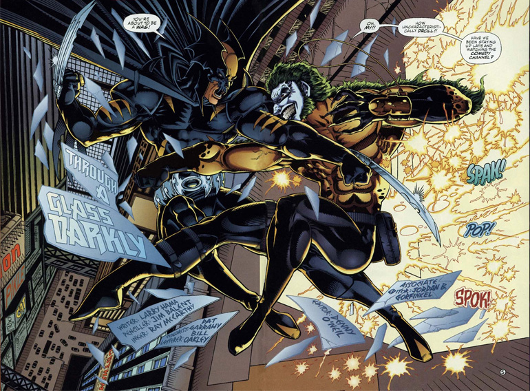 Earth-9602'de Batman ve Wolverine kırması karakter, Joker ve Sabretooth kırmasıyla kapışırken. Ay benim mideme bişiler oluyor!