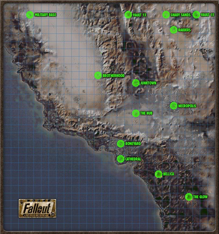 Fallout'un haritası. Gerçek Amerika haritasıyla karşılaştırıp komplo teorisi üretenler çok olmuştur.