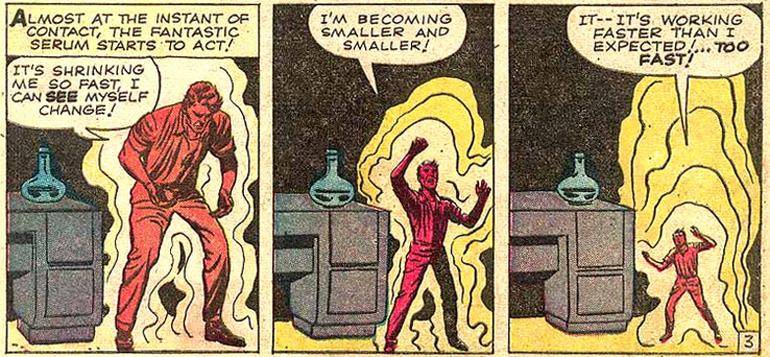 Pym, formülü kendi üstünde denerken (Tales to Astonish #27).