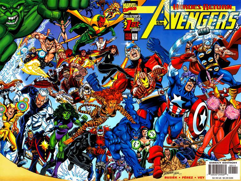 İşler 90'ların sonunda Marvel için iyice kötüye gitmeye başladığındaki Avengers kadrosu