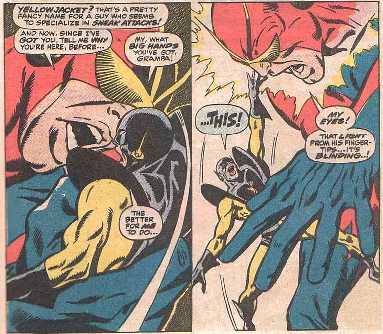 Yellow Jacket Giant-Man'le (!) dövüşüyor. Avengers #59 (1968)
