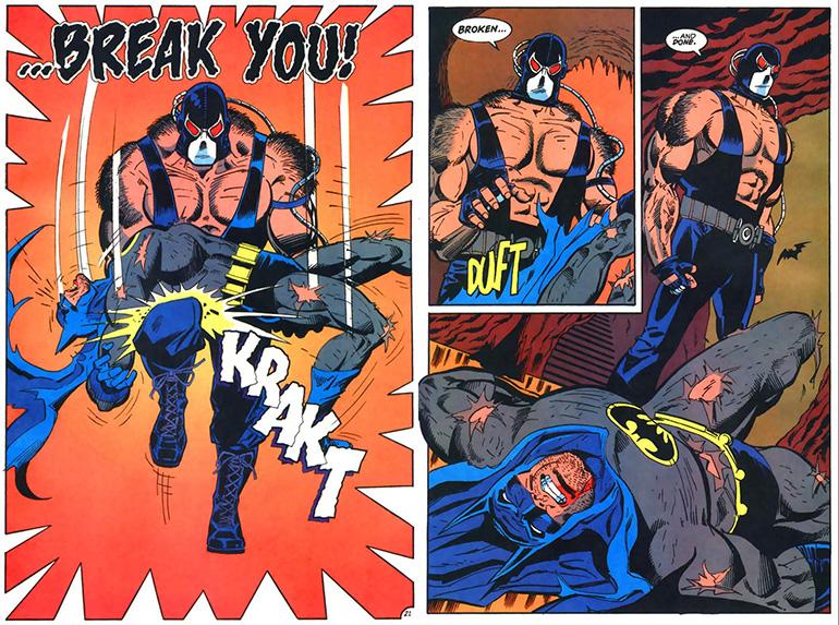 Bane'in Batman'in belini kırdığı sahne. Knightfall (1993)