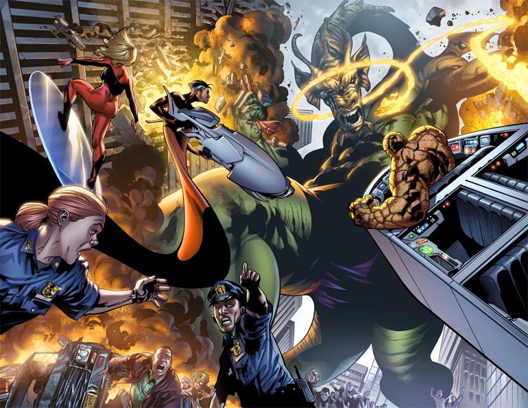 Fantastic Four, Fin Fang Foom'la savaşırken. bir ejderha neden mor don giyer ya da o donu kime diktirmiştir bana sormayın!