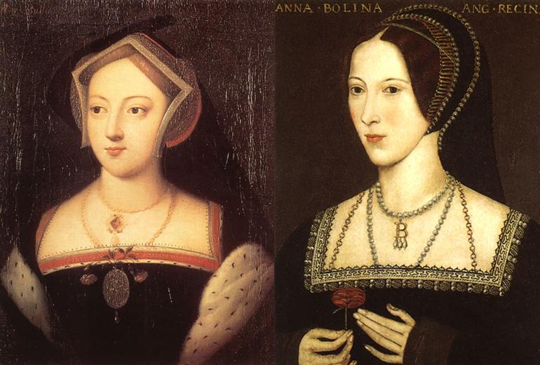 Gerçek Mary ve Anne Boleyn.