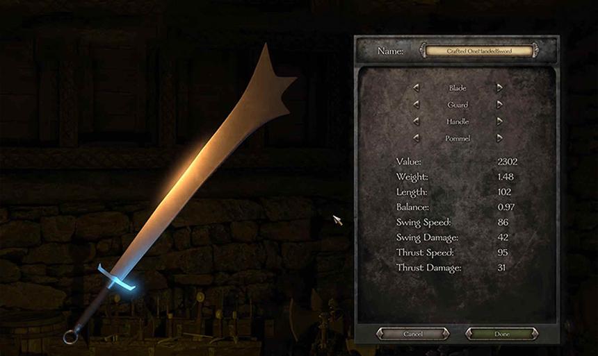 Sword crafting'deki son durum. Kılıcın pek çok dinamiğini belirleyip, tam istediğiniz kılıcı yapmanız mümkün. Üstüne, birde isim koyabiliyorsunuz bu kılıcınıza!