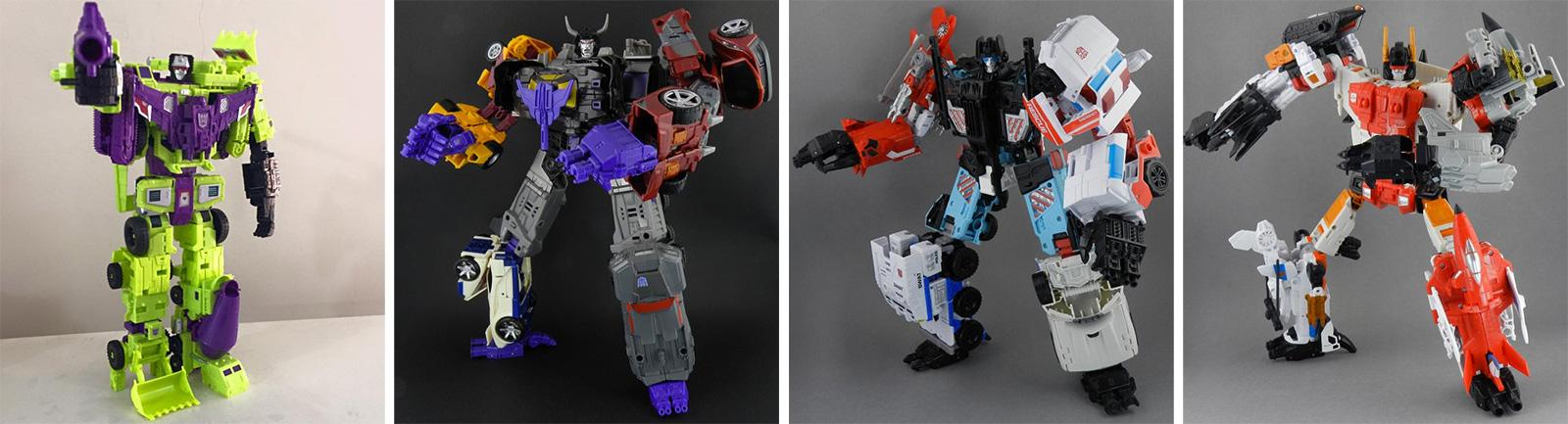 Devastator, Menasor, Protector ve Superion. Hepsinin oyuncakları var, satalım mı çocuğum?