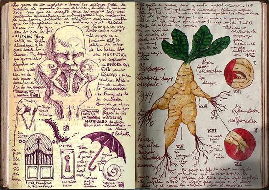Guillermo Del Toro'nun kendi çizimlerinden oluşan günlüğünden sayfalar