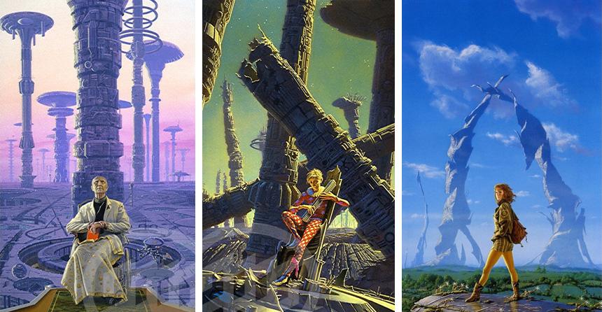 Isaac Asimov'un Vakıf, Vakıf ve İmparatorluk ve İkinci Vakıf kitaplarının kapakları illüstrasyonları.