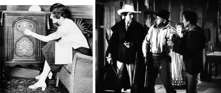 Bir soap opera dinleyicisi ev hanımı (solda) ve 1926 yapımı bir horse opera olan 3 Bad Men'den bir sahne