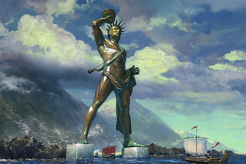 Dünyanın 7 Harikasından biri olan Rodos Heykeli (temsili).