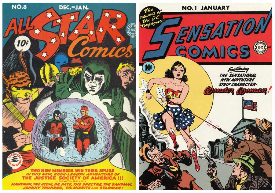 Wonder Woman'ın ilk kez göründüğü All Star Comics'in 8. sayısı ve sonradan görüneceği Sensation Comics.