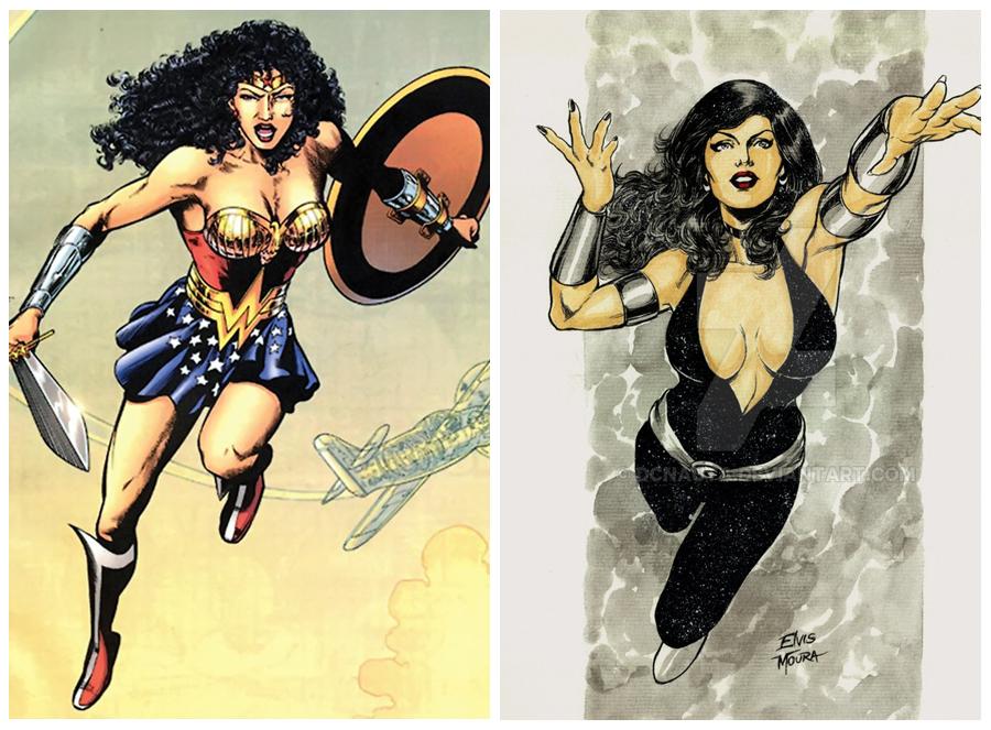 Wonder Woman ünvanını taşıyanlardan Kraliçe Hippolyta ve Donna Troy.