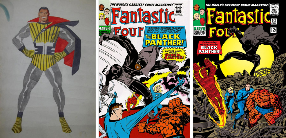 Jack Kirby'nin Coal Tiger isimli ilk prototipi, reddedilen Fantastic Four #52 kapağı ve kabul edilen kapak