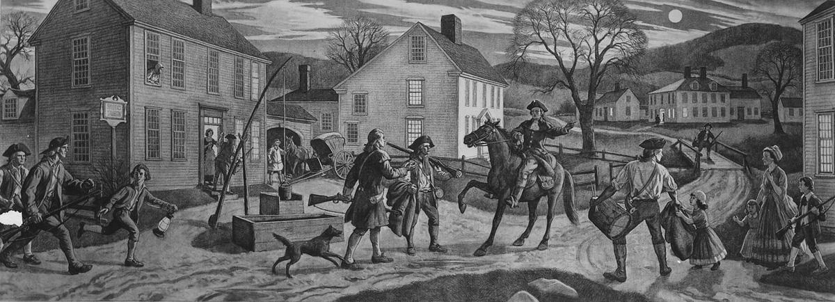 """Paul Revere'nin tarihi """"Geceyarısı Sürüşü"""" 18 Nisan 1775"""