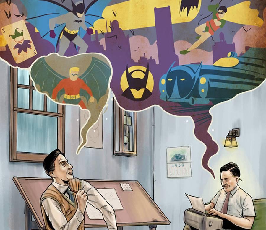 Rob Kane ve Bill Finger Batmani tasarlarken Resmin tamamını görmek için tıklayın!)