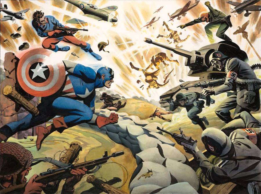 Captain America ve Buck, Nazilere karşı savaşırken