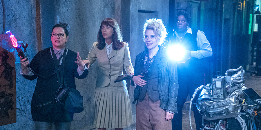 Abby (Melissa McCarthy), Erin (Kristen Wiig), Holtzmann (Kate McKinnon) and Patty (Leslie Jones) in Columbia Pictures' GHOSTBUSTERS.