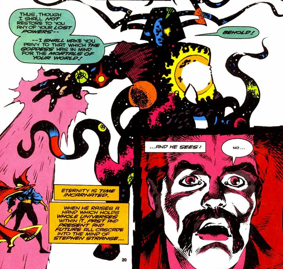 Doctor Strange, evrenin ta kendisi olan Eternity'nin karşısında.