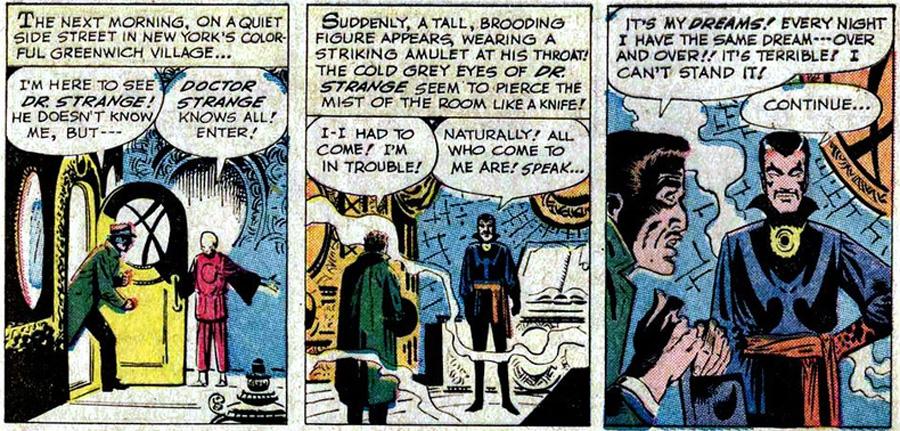 """Doctor Strange'in okuyucuya """"merhaba"""" dediği Strange Tales #110'dan bir bölüm (1963)."""