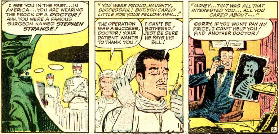 Strange Tales #115'te Doctor Strange'in nasıl bir şerefsiz olduğunu gösteren kareler (1963).
