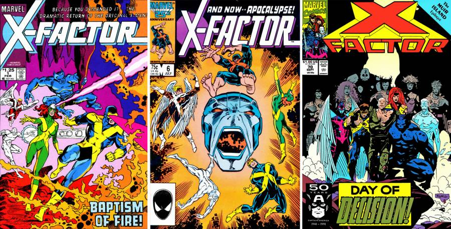 X-Factor'ün ilk ortaya çıktığı X-Factor #1 (1986), Apocalypse'in ilk göründüğü X-Factor #6 (1986) ve ekibin dağıtıldığı X-Factor #70 (1991)