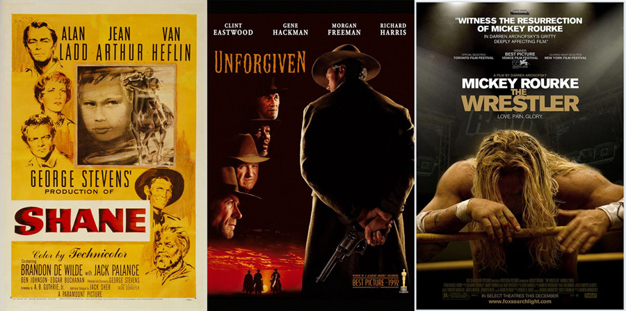 Shane (1953), Unforgiven (1992) ve The Wrestler (2008)